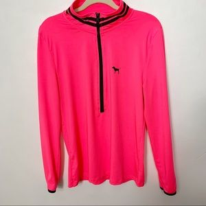 VS PINK 1/2 zip Neon Pink Ultimate pullover Large
